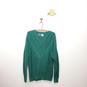 VTG Weekends teal oversized pullover sweater M 149
